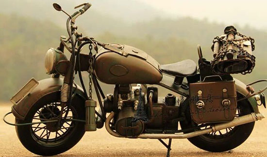 Medium Scale Army Green Handmade 1943 Harley Davidson Model