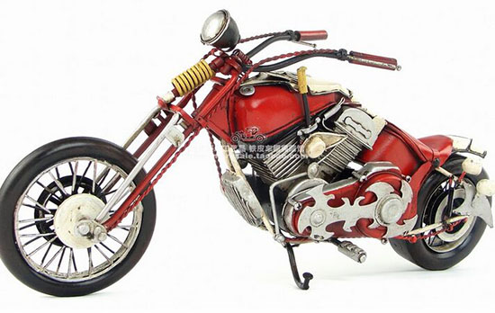 Red Medium Scale Handmade Tinplate 1948 Harley Davidson Model