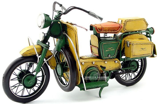 Handmade Medium Scale Yellow-Green Tinplate 1950 MOTO GUZZI