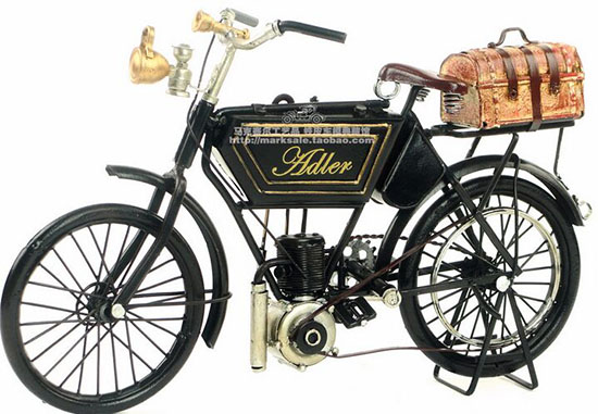 Black Handmade Medium Scale 1903 Adler Motorcycle Model