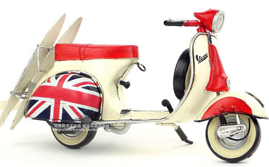 Medium Scale Red-White Tinplate Handmade 1959 Vespa Scooter