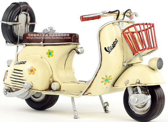 Medium Scale Beige Handmade Tinplate 1965 Vespa Scooter Model