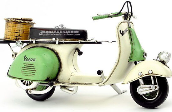 Medium Scale White-Green Vintage Handmade 1959 Vespa Scooter