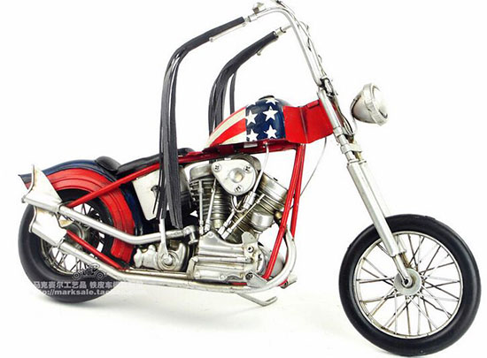 Red Medium Scale Handmade Vintage 1935 Harley Davidson Model