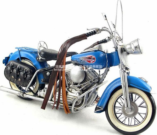 Blue Medium Scale Handmade 1966 Harley Davidson FLT Model
