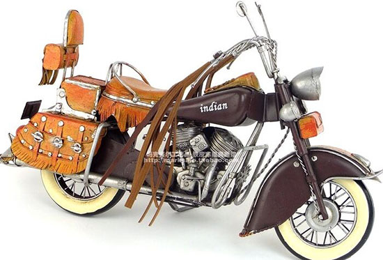 Handmade Brown Medium Scale Tinplate 1943 Indian Motorcycle