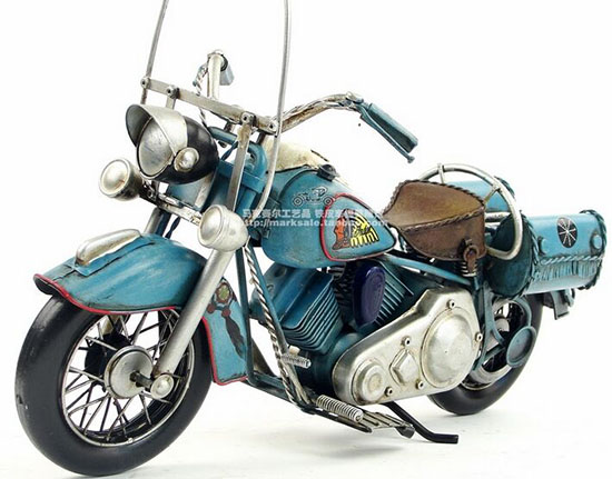 Blue Medium Scale Handmade Tinplate 1969 Indian Motorcycle