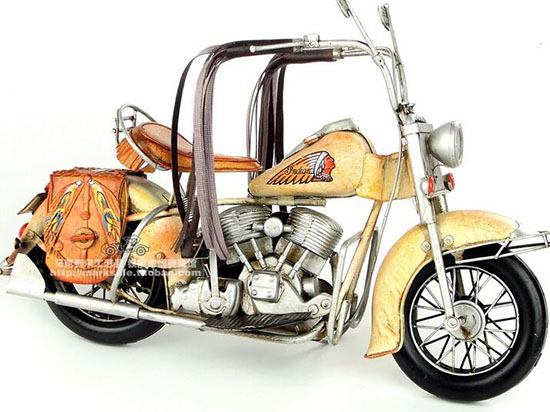 Handmade Yellow Tinplate Medium Scale 1957 Indian Motorcycle