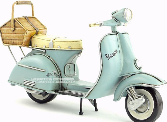 Medium Scale Light Blue Tinplate 1965 Vespa Scooter Model