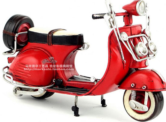 Medium Scale Red / Blue Handmade Tinplate 1959 Vespa Scooter