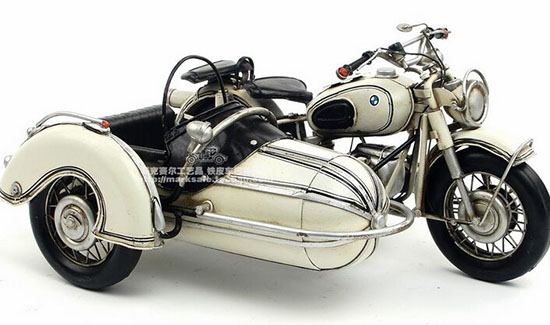 White Handmade Medium Scale 1961 BMW R60 Sidecar Motorcycle
