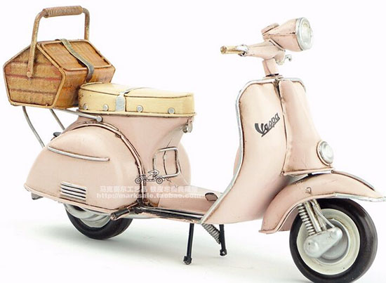 Pink Handmade Medium Scale Tinplate 1965 Vespa Scooter Model