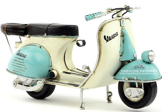 White-Blue Handmade Medium Scale Tinplate 1965 Vespa Scooter