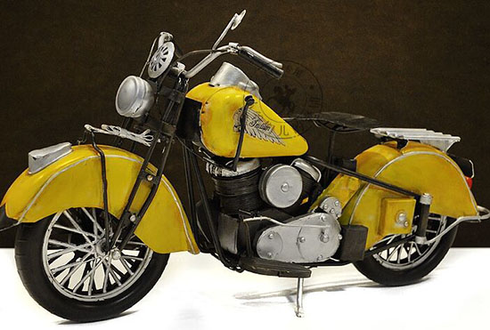 Yellow Handmade Large Tinplate 1950 Indian CHIEF Motorcycle
