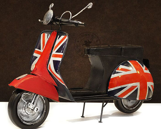Handmade Black-Red Union Jack Tinplate 1951 Vespa Model