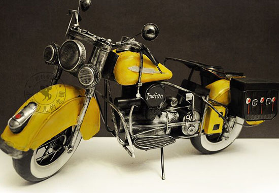 Yellow Large Scale Handmade Tinplate 1929 Indian Four Motorcycle