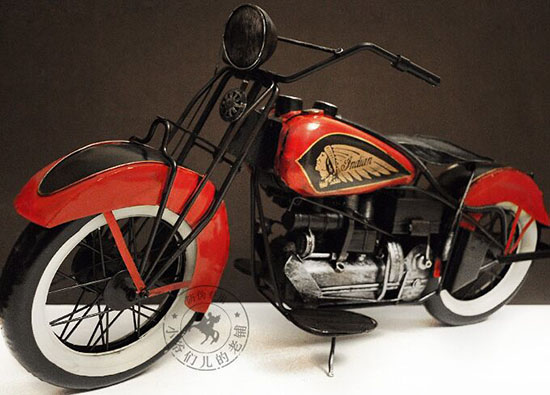 Large Scale Red Handmade Tinplate 1936 Indian Four Motorcycle