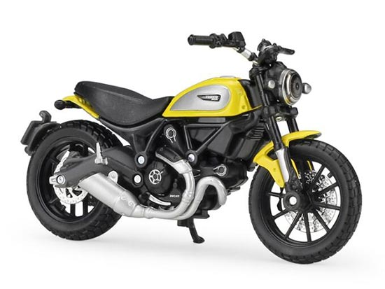 Yellow 1:18 Scale MaiSto Diecast Ducati Scrambler Model