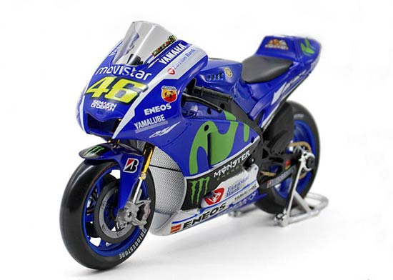 Blue 1:10 Scale NO.46 Diecast Yamaha YZR-M1 Motorcycle Model