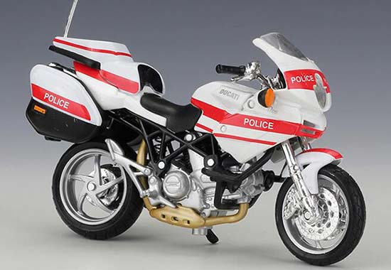 1:18 Scale White-Red Maisto Police Diecast Ducati Model