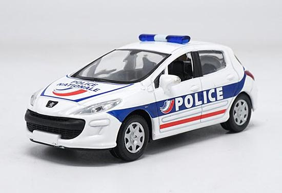 White 1:43 Scale NOREV Police Diecast Peugeot 308 Model