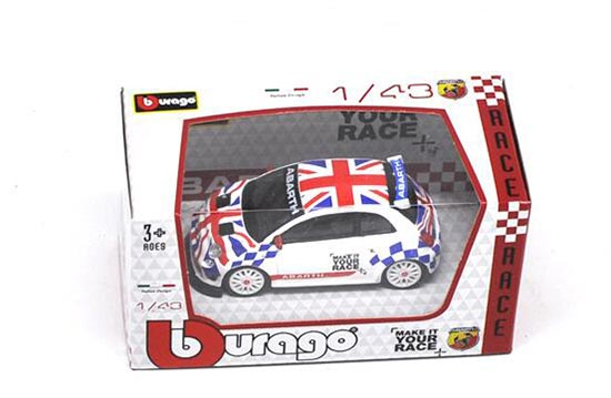 1:43 Scale Bburago Union Jack Diecast Fiat Abarth 500 Model