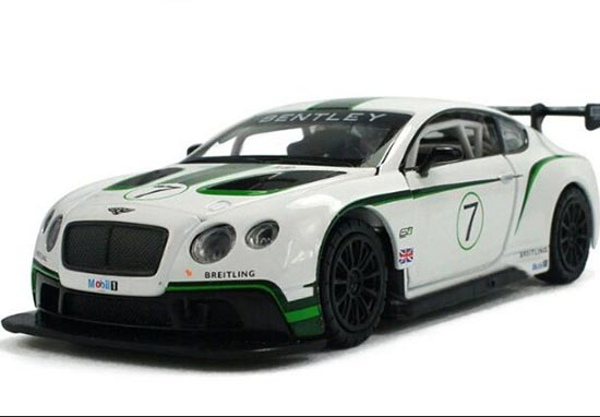 Kids White 1:32 Scale Diecast Bentley Continental GT3 Toy