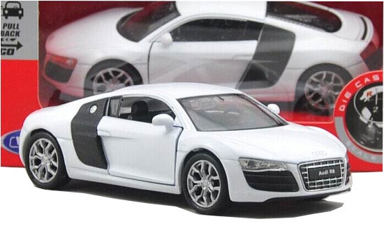 White 1:36 Scale Welly Diecast Audi R8 V10 Toy