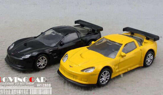 1:64 Black / Yellow Kids Diecast Chevrolet Corvette Toy