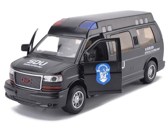 1:32 Kids Black Hong Kong SDU Diecast GMC Savana Toy