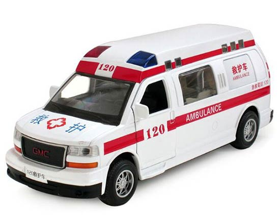 1:32 Kids White Ambulance Theme Diecast GMC Savana Toy