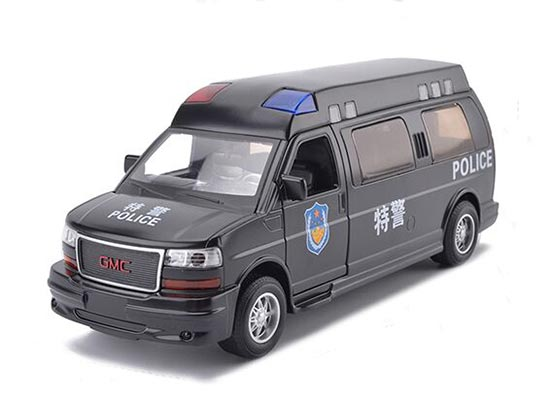 Black 1:32 Scale Kids Police Diecast GMC Savana Toy