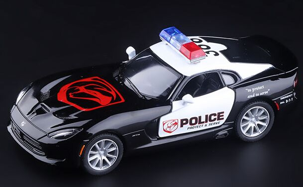 Kids Black 1:36 Scale Police Diecast Dodge Viper SRT Toy