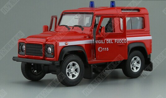 Kids 1:36 Welly White / Red Diecast Land Rover Defender Toy