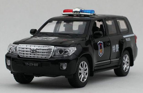 Kids 1:32 Scale Black Police Diecast Toyota Land Cruiser Toy