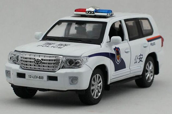White 1:32 Scale Police Diecast Toyota Land Cruiser Toy