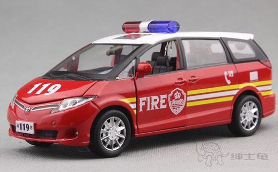 Red 1:32 Scale Kids Fire Engine Diecast Toyota Previa Toy