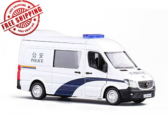 White Kids 1:36 Police Diecast Mercedes-Benz Sprinter Toy
