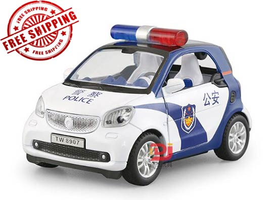 Kids 1:32 Scale White-Blue Police Diecast Smart Fortwo Toy