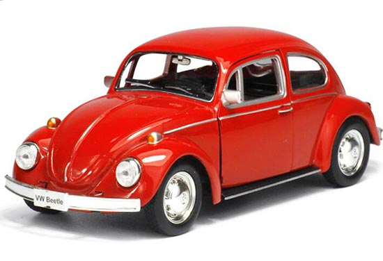 Kids 1:36 Red / Yellow / White Diecast 1976 VW Beetle Toy