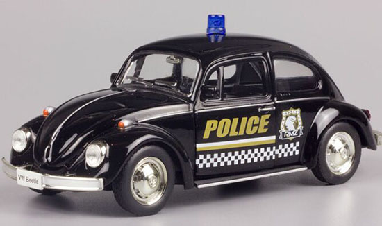 Kids Black 1:36 Scale Police Diecast 1976 VW Beetle Toy
