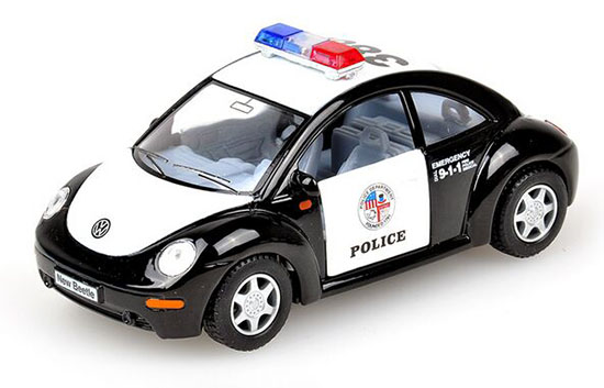 Black 1:36 Scale Kids Police Diecast VW New Beetle Toy