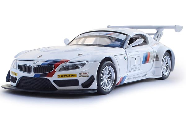 1:32 Kids White Pull-Back Function Diecast BMW Z4 GT3 Toy