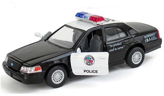 1:36 Scale Kids Black Police Diecast Ford Crown Victoria Toy