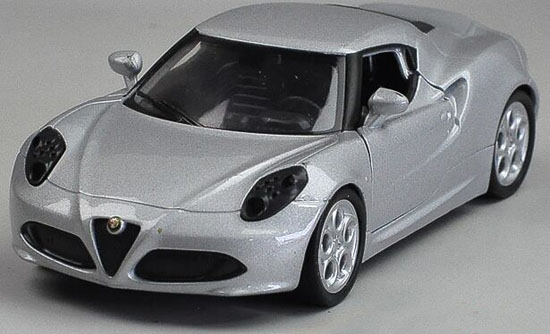 Kids Welly 1:36 Scale Silver Diecast Alfa Romeo 4C Toy