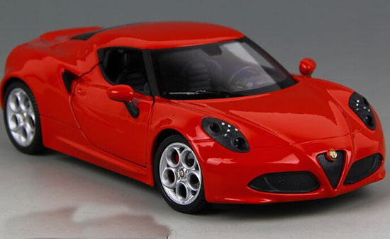 1:24 Scale Welly Red Diecast Alfa Romeo 4C Model