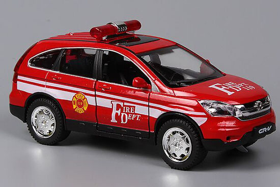 Kids 1:32 Red / White Fire Dept Theme Diecast Honda CR-V Toy