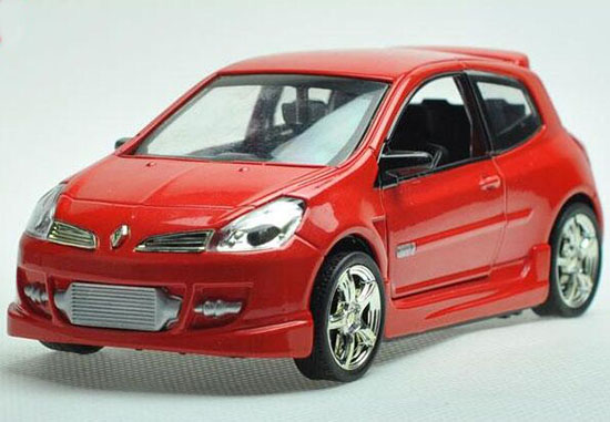 Kids 1:32 Scale Red / Blue Diecast Renault Clio Toy