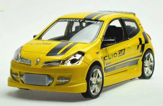Kids 1:32 Red / Yellow Stripe Pattern Diecast Renault Clio Toy