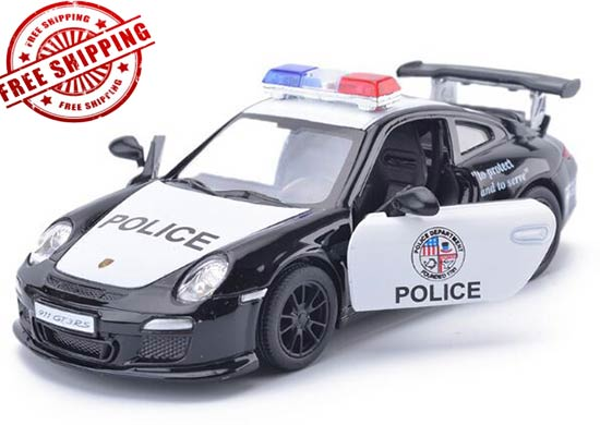 White-Black Kids 1:36 Police Diecast Porsche 911 GT3 RS Toy